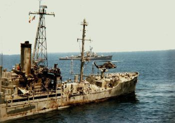 USS Liberty after she was struck by Israeli military