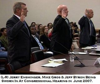 Jerry Ensminger, Mike Gros & Jeff Byron being sworn in at Congressional Hearing in June 2007