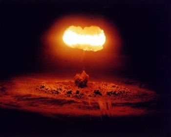 nuclear bomb exploded from balloon; known as Operation Plumbbob /STOKES Event at the Nevada Test Site