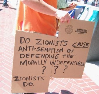 zionists cause antisemitism sign