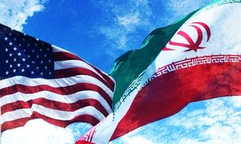 Iran and U.S. flags