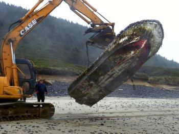 Derelict boat from Japan on Oregon beach