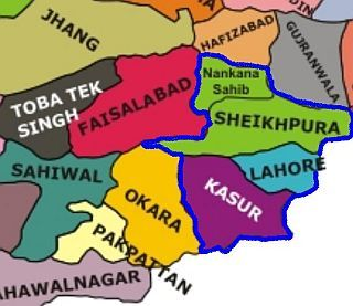 Map of Pakistan with Kasur