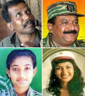 Clockwise from top left; Colonel Ramesh, Velupillai Prabhakaran, Isaipriya (Shoba) and Duvarika Prabhakaran.