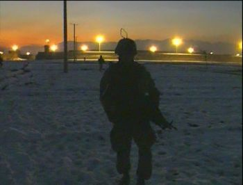 U.S. soldier on night patrol in Afghanistan