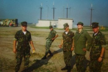 Marines at El Toro's MWSG-37 area in 1982.  Marines from left; Bob Myer, Carlos Lopez, unidentified, Robert Stover and Michael Jung.