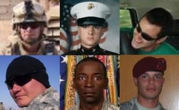 Clockwise from top left: James R. McIlvaine, Mark A.  Wojciechowski, Tyler Trahan, Brad A. Davis, Benjamin Moore, Jr. and  Leroy O. Webster. Photos: MySpace, Facebook and the tribute page for CSM  Moore. (Photo: Salem-News.com