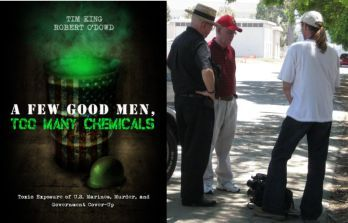 Bob O'Dowd, center wearing read, Tim King, white shirt, back to camera, and John Uldrich, all of Salem-News.com, on site at MCAS El Toro for research, 2010. <i>'A Few Good Men Too Many Chemicals'</i> is available via Kindle on Amazon.com
