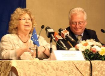 Jean Lambert and Bernard Savage at a press conference