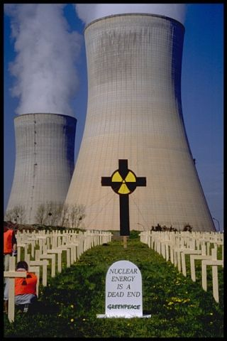 A protest against nuclear power carried out by Greenpeace International