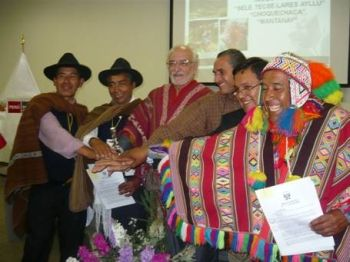 Participants in the signing ceremony for the approval of three new Peruvian conservation areas