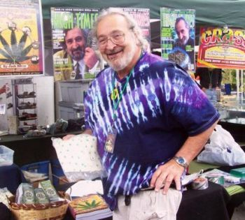 Jack Herer proudly shows off his hemp boxers