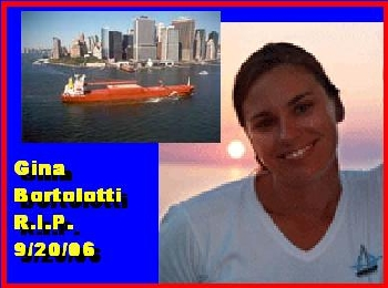 Ms. Gina Bortolotti drowned after a vessel she was a crew member aboard, was struck and sank by the 623-foot coal carrier Barkald, also shown in the photo.