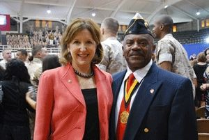 Kay Hagan with a Montford Point Marine from WWII.