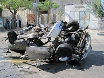 The burned-out skeleton of the car occupied by Muhamad Jamal Nimnim