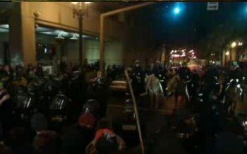 Demonstrators and police face to face shortly before 3:00 a.m. Sunday morning.
