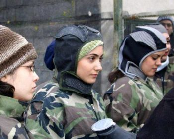 girls from Tehran preparing for a paintball game