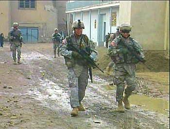 U.S. soldiers on patrol in Kabul, Afghanistan