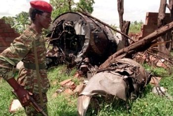 The wreckage of President Juvenal Habyarimana's plane.