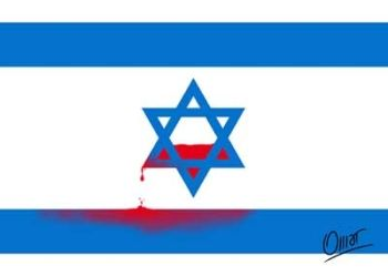 Israel flag and blood