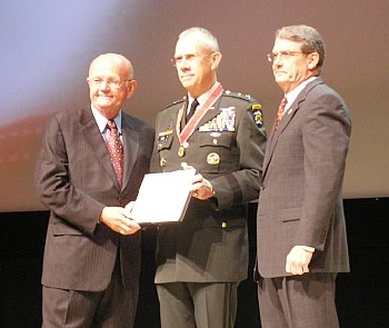 Maj. Gen. Raymond F. Rees receives the Lt. Gen. Raymond S. McClain Medal, Oct. 8, during the Association of the United States Army (AUSA) Annual Meeting and Exposition in Washington D.C.