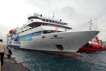 The MV Mavi Marmara aid-carrying ship leaving Antalya, Turkey for Gaza on 22 May 2010