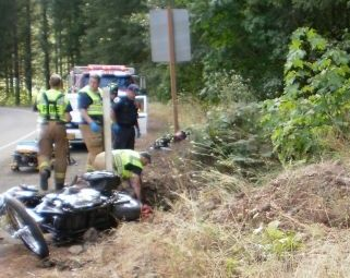 Motorcycle crash near Tillamook, Oregon 12 Sept 2010