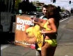 PETA demonstrator in yello bikini